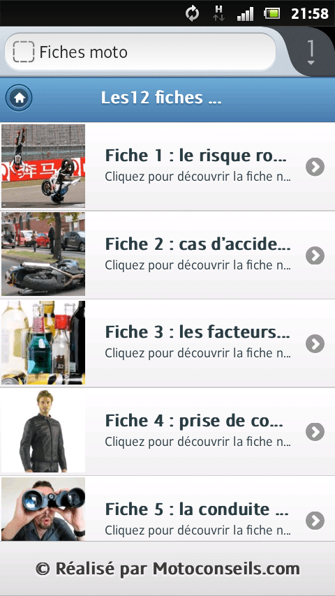 application fiches moto smartphones
