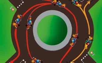 position de la moto dans un rond point