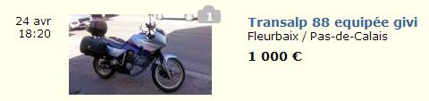 moto honda transalp prix