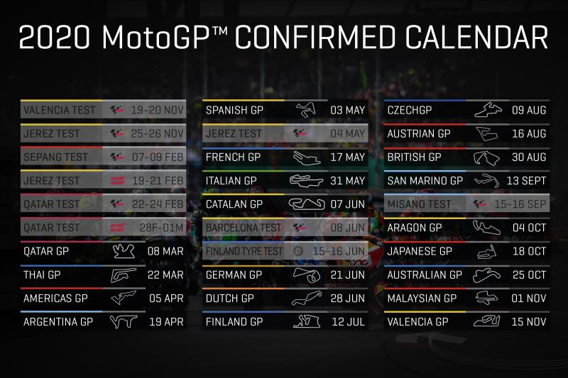 Calendrier moto GP 2020 officiel
