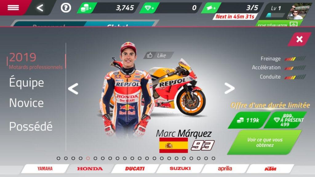 Marc Marquez jeu moto GP smartphone