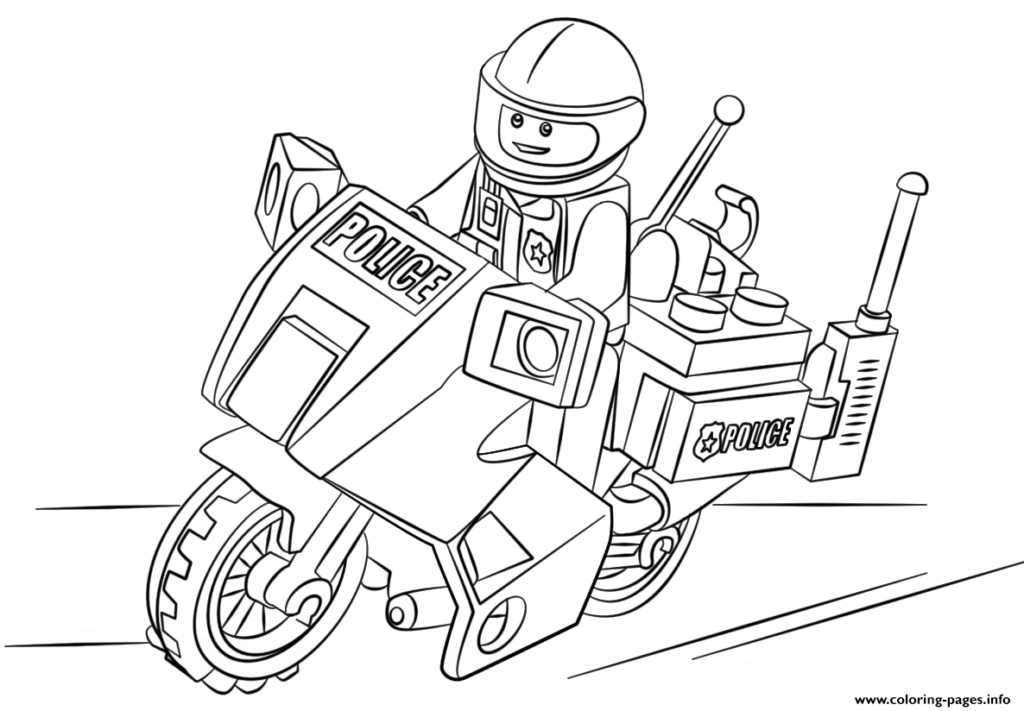 coloriage moto lego police