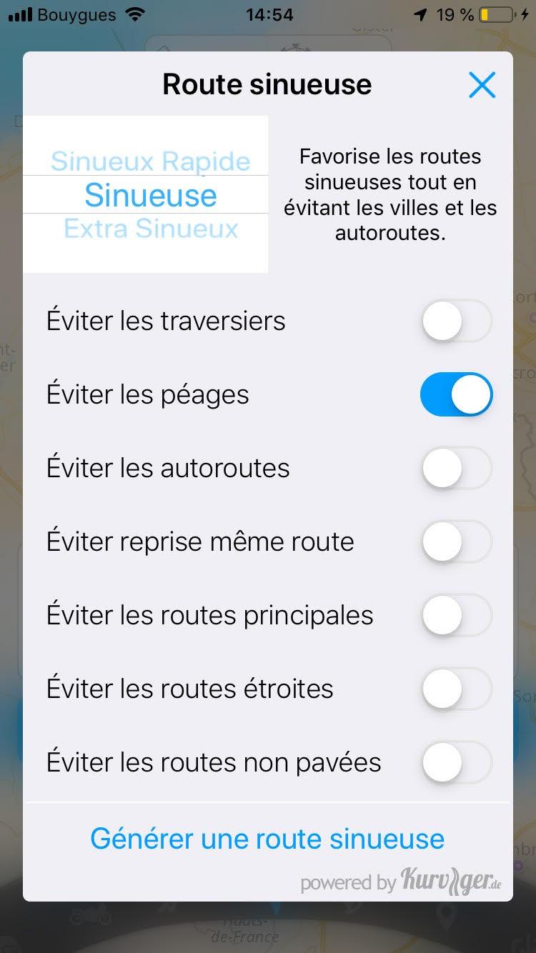 application gps moto routes sinueuses